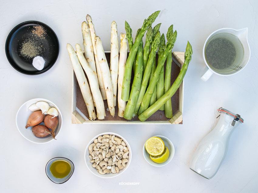 Zutaten für das Rezept: vegane Spargelsuppe